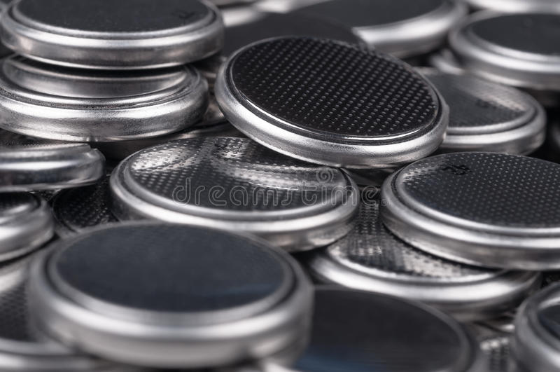 Knappcellbatterier royaltyfri fotografi