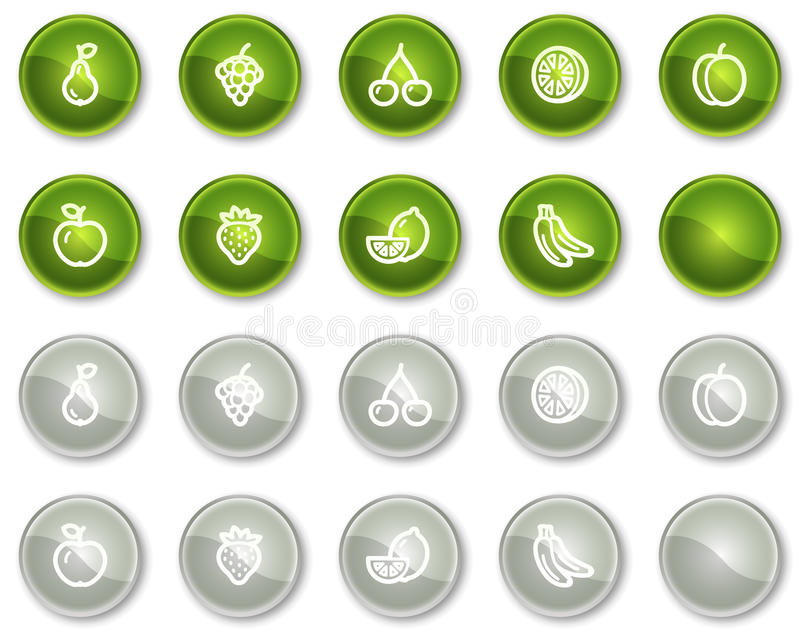 knappcirkeln bär fruktt grön grå symbolsrengöringsduk royaltyfri illustrationer