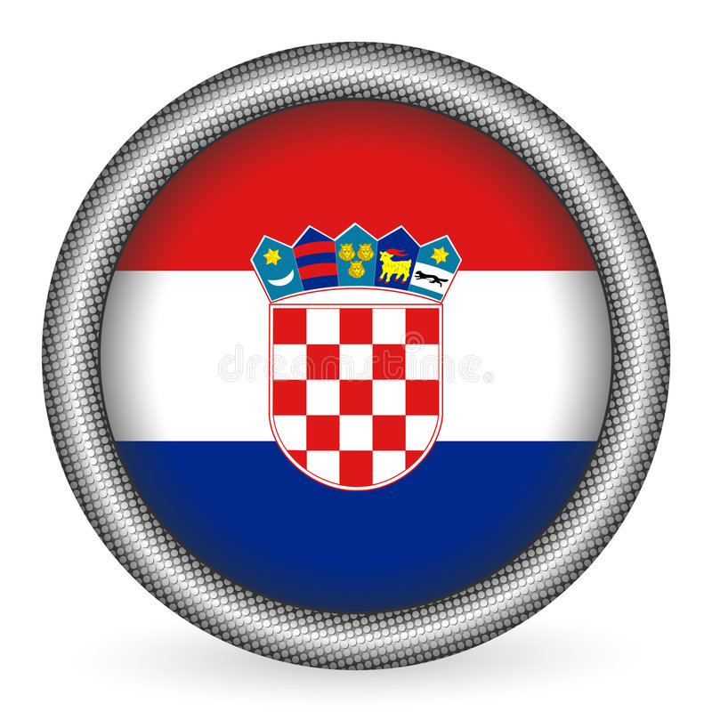 knappcroatia flagga royaltyfri illustrationer