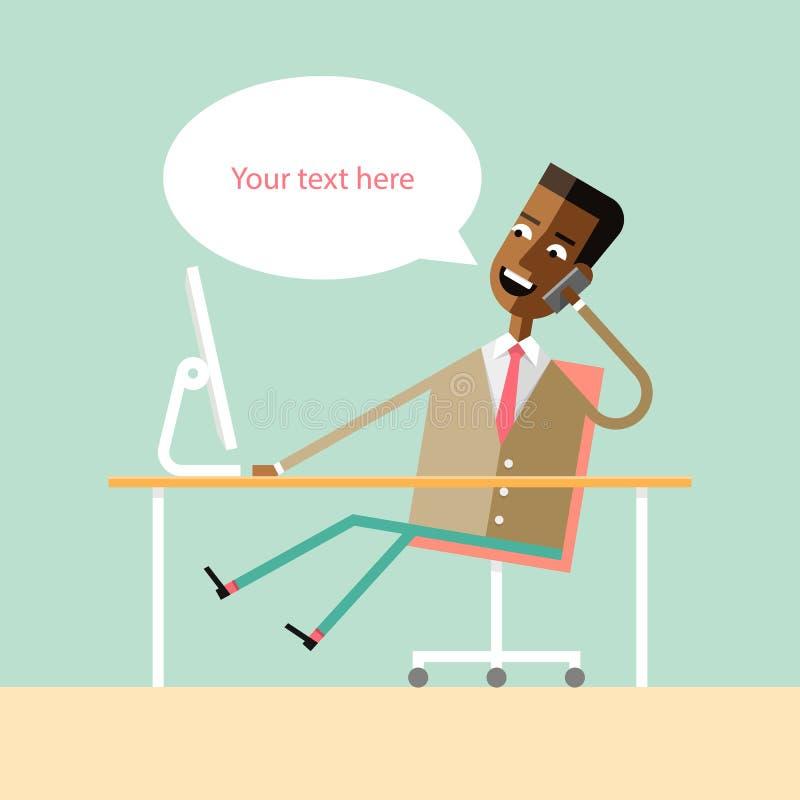 Knappe Afrikaanse Amerikaanse manager die op telefoon spreken royalty-vrije illustratie