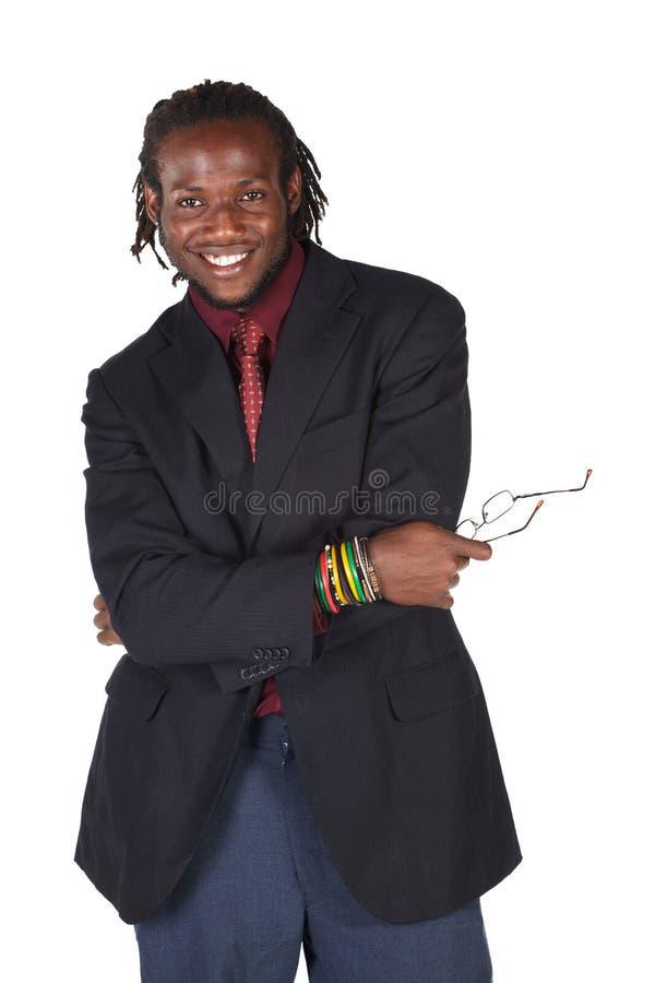 Knappe Afrikaanse zakenman royalty-vrije stock foto's