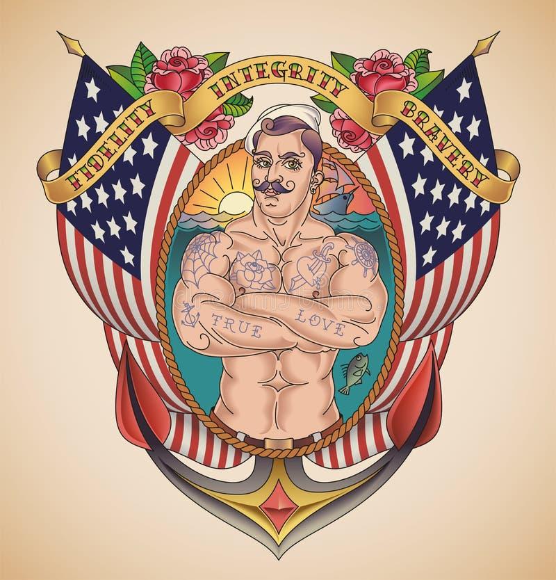 Knappe Amerikaanse Zeeman Tattoo vector illustratie