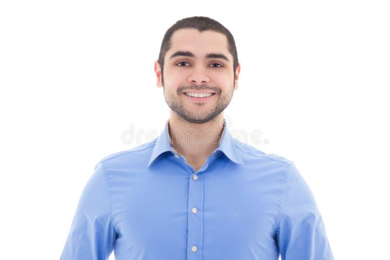 Knappe Arabische mens in blauw die overhemd op wit wordt geïsoleerd stock foto