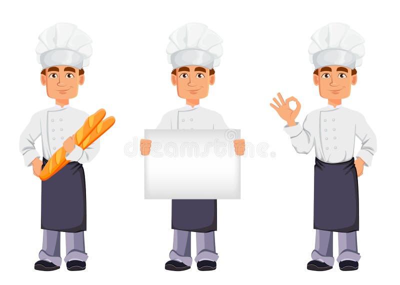 Knappe bakker in professionele eenvormig royalty-vrije illustratie