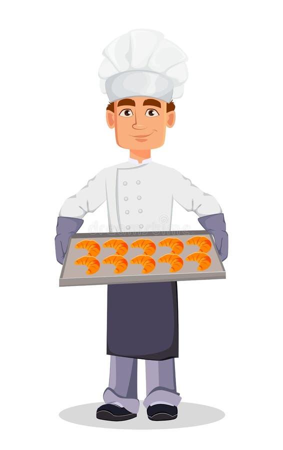 Knappe bakker in professionele eenvormig vector illustratie