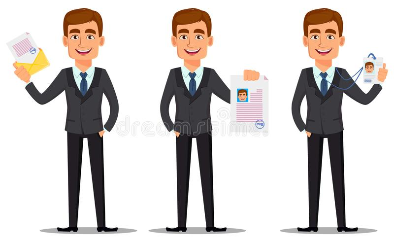 Knappe bankier in pak royalty-vrije illustratie