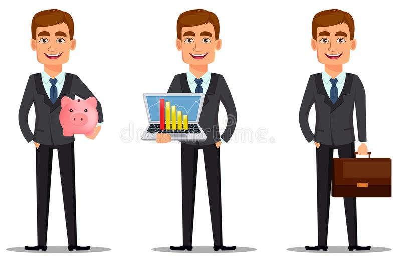 Knappe bankier in pak vector illustratie
