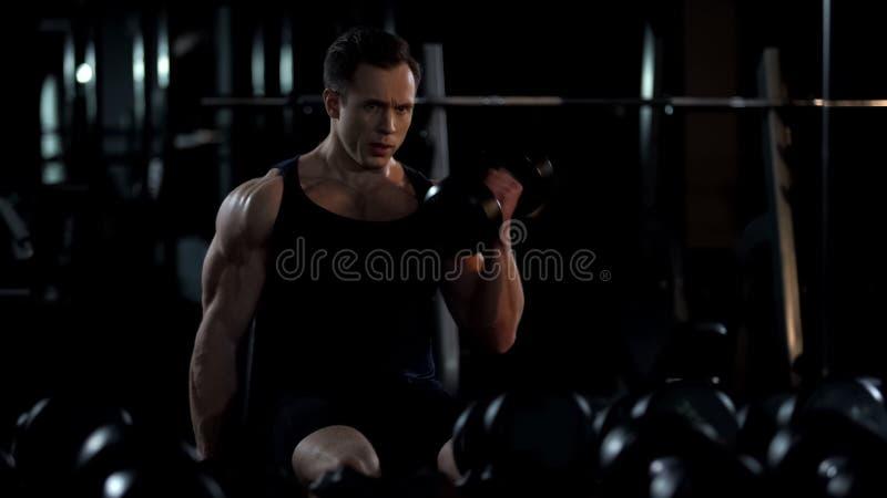 Knappe bodybuilder die gezette afgewisselde bicepsenkrul doen, die voor de zomer opleiden stock foto