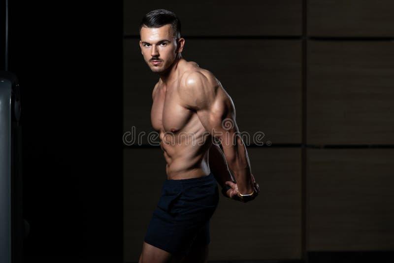 Knappe Bodybuilder die Zijtriceps maken stellen stock fotografie