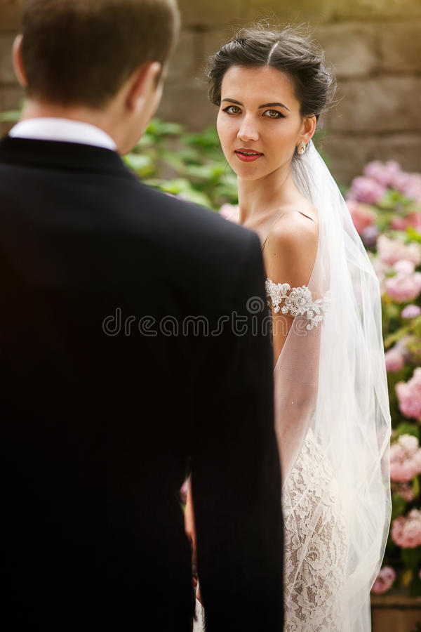 Knappe bruidegom en mooie seksuele donkerbruine bruid die in GA kijken stock fotografie