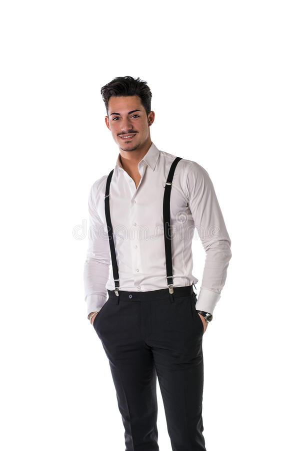 Knappe elegante jonge mens met pak stock foto