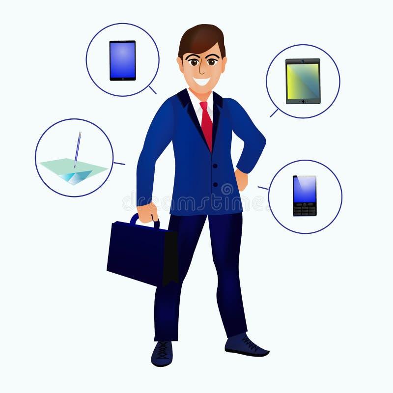 Knappe geïsoleerdeh zakenman Zakenman met hulpmiddelen voor zaken en leiding Illustratie stock illustratie