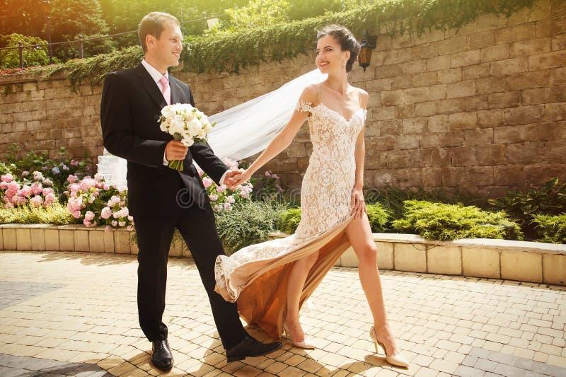 Knappe gelukkige bruidegom en het mooie seksuele donkerbruine bruid lopen royalty-vrije stock afbeeldingen