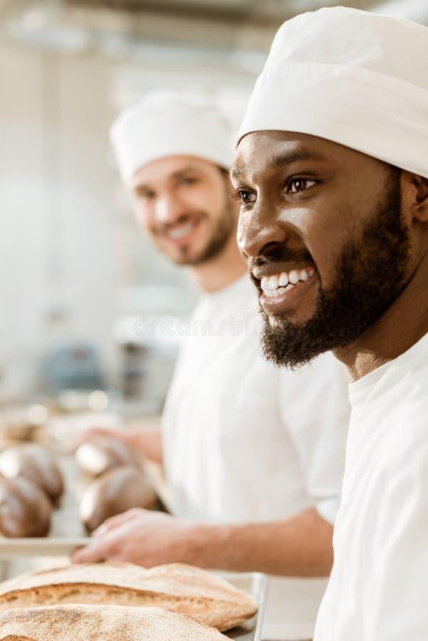 knappe jonge bakkers in hoeden stock fotografie