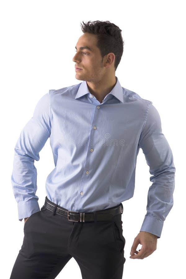 Knappe jonge geïsoleerde mens met elegant overhemd royalty-vrije stock fotografie