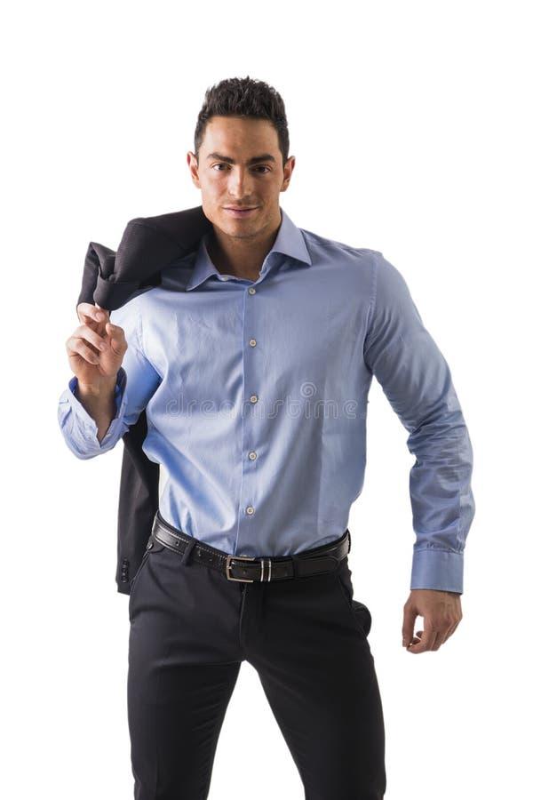 Knappe jonge geïsoleerde mens met elegant overhemd royalty-vrije stock afbeeldingen