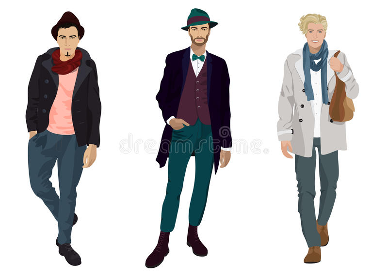 Knappe jonge kerels in geïsoleerde manier en vrijetijdskleding stock illustratie