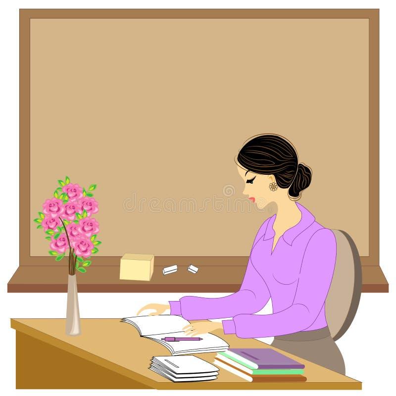 Knappe jonge leraar Het meisje zit bij de lijst dichtbij het venster Een vrouw schrijft in een klassendagboek Vector illustratie vector illustratie