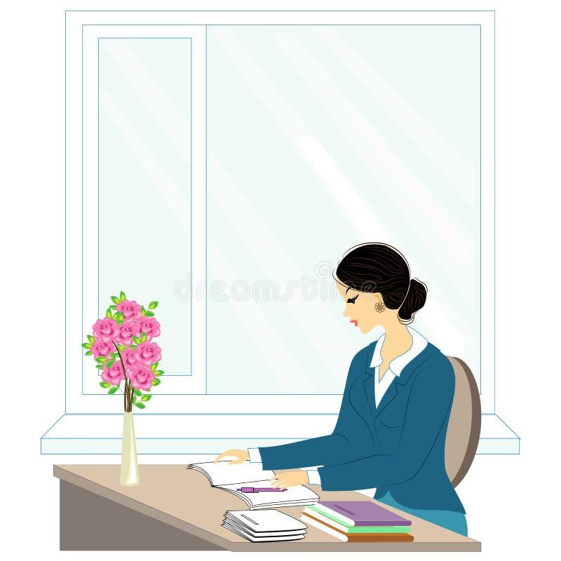 Knappe jonge leraar Het meisje zit bij de lijst dichtbij het venster Een vrouw schrijft in een klassendagboek Vector illustratie royalty-vrije illustratie