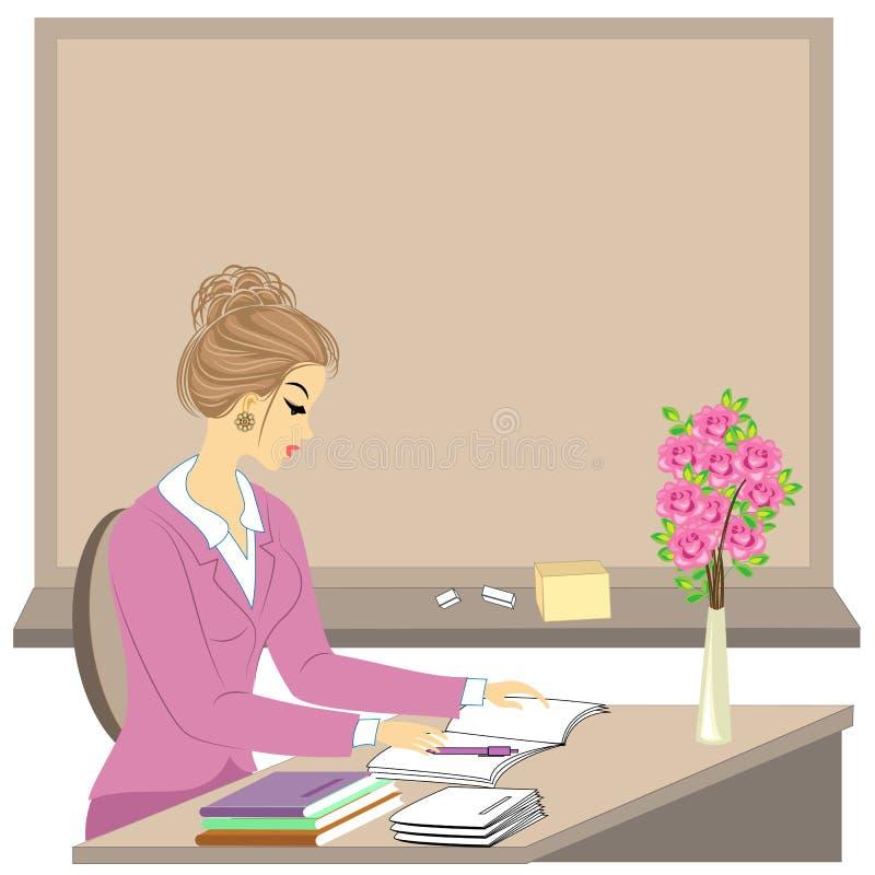 Knappe jonge leraar Het meisje zit bij de lijst dichtbij het venster Een vrouw schrijft in een klassendagboek Vector illustratie stock illustratie