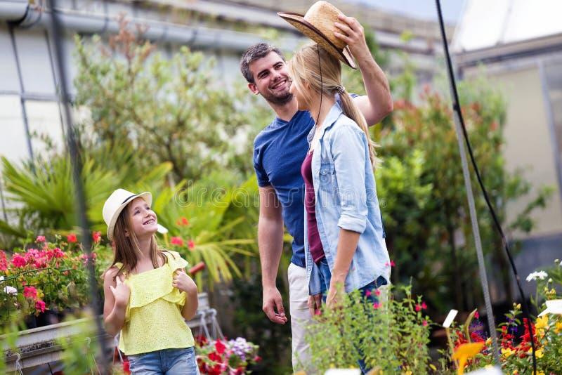 Knappe jonge mens die de hoed op zijn vrouw zetten terwijl zijn dochter hen in de serre bekijkt stock afbeelding