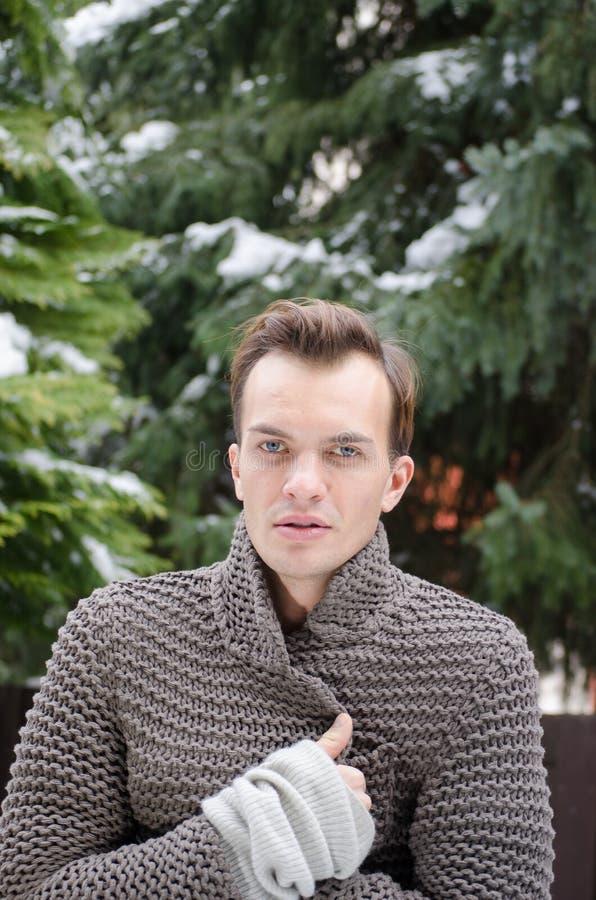 Download Knappe Jonge Mens In Openlucht Stock Afbeelding - Afbeelding bestaande uit winter, cardigan: 29500769