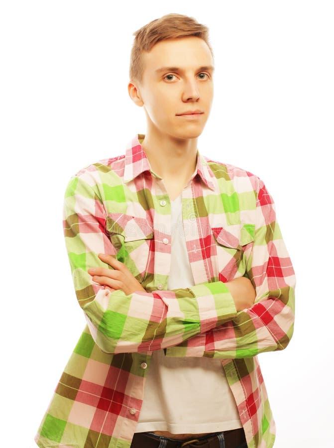 Knappe jonge mens in overhemd stock fotografie