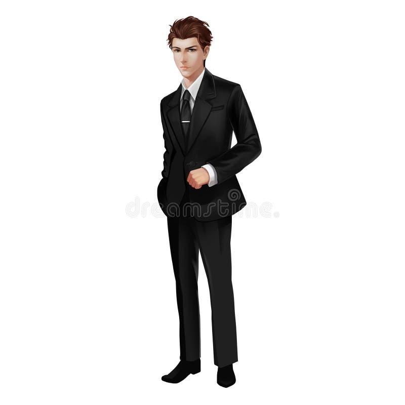Knappe jonge mens in zwart kostuum royalty-vrije illustratie
