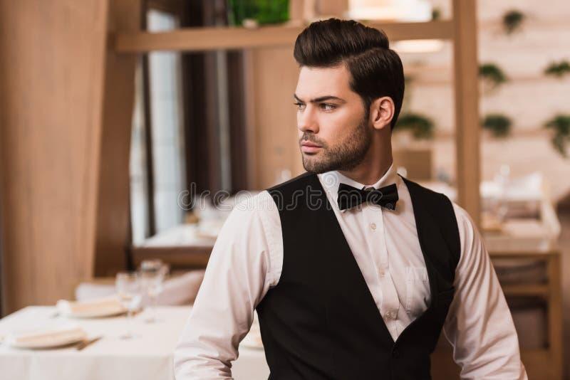 Knappe kelner royalty-vrije stock afbeelding