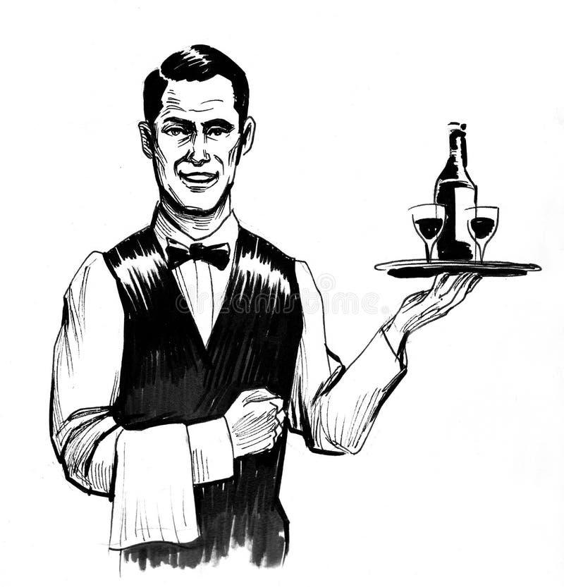 Knappe kelner stock illustratie