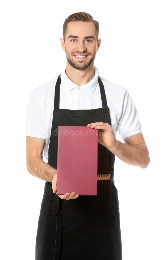 Knappe kelner met menu stock fotografie