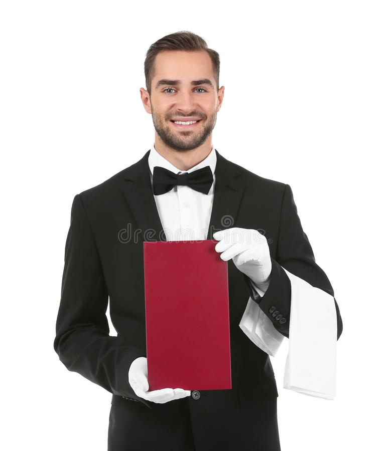 Knappe kelner met menu royalty-vrije stock foto's