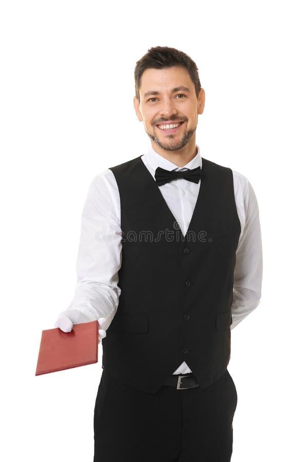 Knappe kelner met rekening stock afbeelding