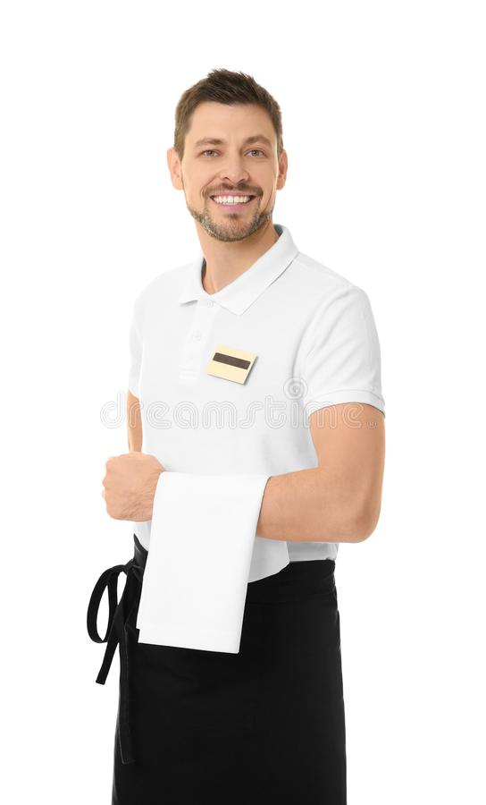 Knappe kelner op achtergrond stock foto's