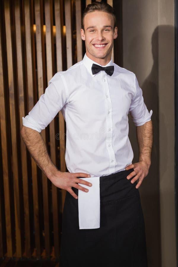 Knappe kelners stellende en bevindende handen op heupen royalty-vrije stock afbeelding