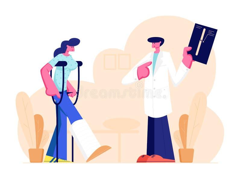 Knappe Mannelijke Medische Arts Listening aan Mooie Vrouwelijke Geduldige Status op Steunpilaren met Gebroken Been die R?ntgenfot vector illustratie