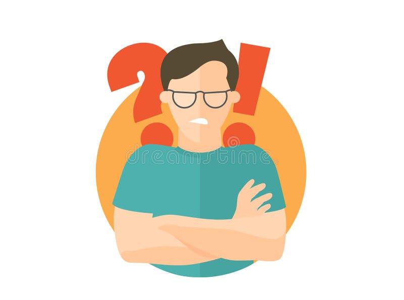 Knappe mens in beledigde glazen boze twijfels, Vlak ontwerppictogram Jongen met een vraag en uitroeptekens Eenvoudig editable iso vector illustratie