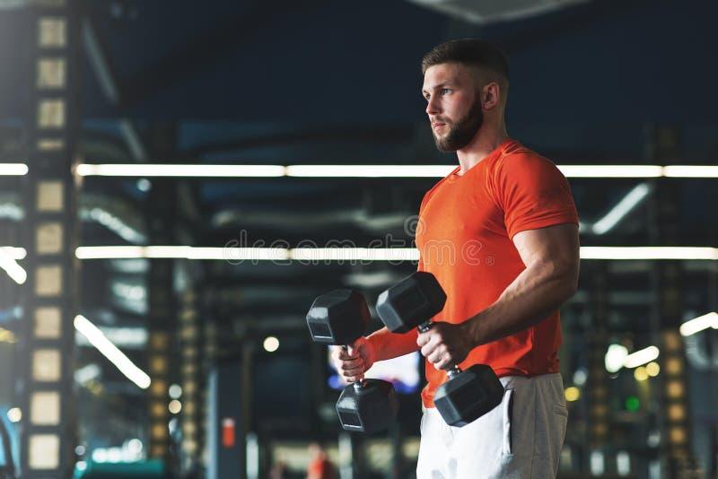 Knappe mens die bicepsen uitwerken bij de gymnastiek royalty-vrije stock fotografie
