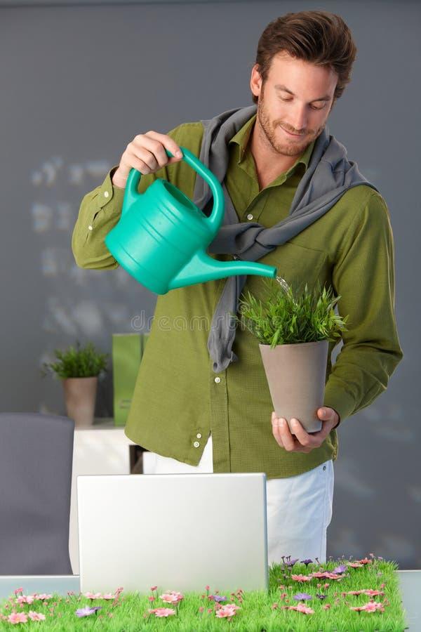 Knappe mens het water geven installatie thuis stock foto