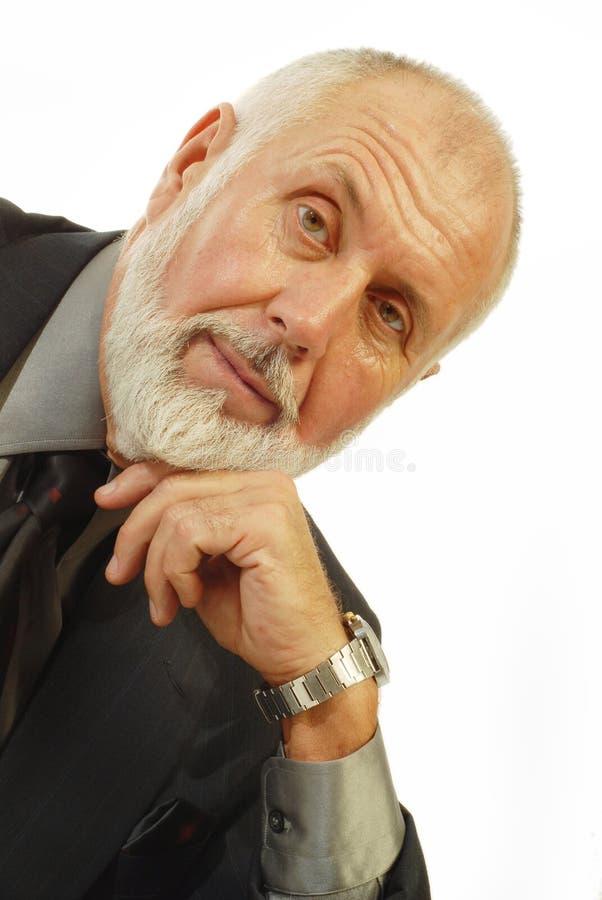 Knappe oudere zakenman stock foto