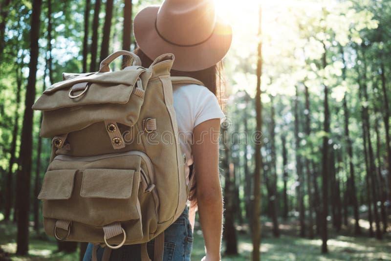 Knappe reizigersvrouw met rugzak en hoed die zich in het bos Jonge hipstermeisje lopen onder bomen op zonsondergang bevinden stock fotografie