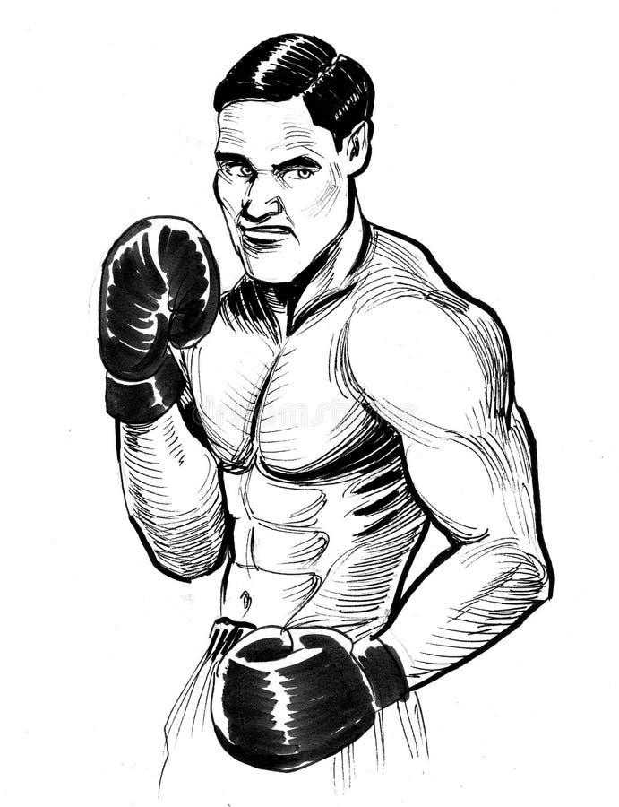 Knappe retro bokser vector illustratie
