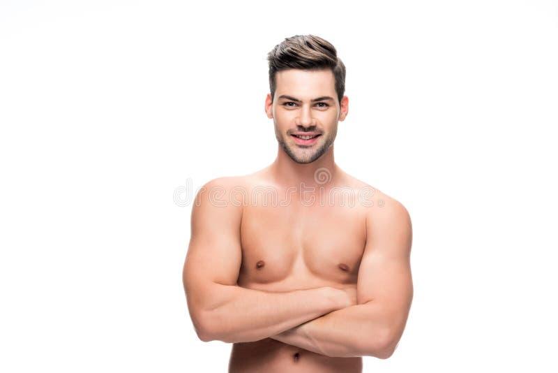 Knappe shirtless mens stock foto