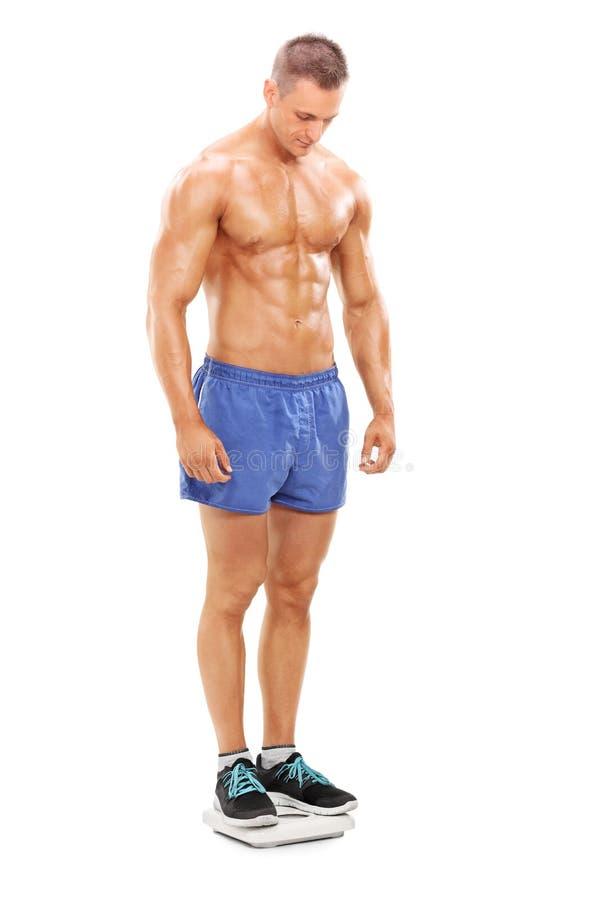 Knappe shirtless mens die zich op een gewichtsschaal bevinden stock foto's