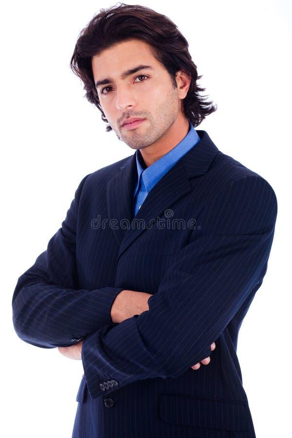 Knappe succesvolle bedrijfsmens in half geleend kostuum stock fotografie