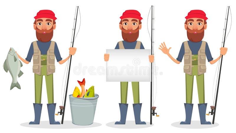 Knappe visser, vrolijk beeldverhaalkarakter stock illustratie