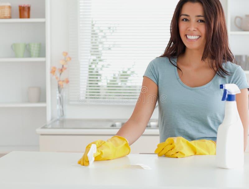 Knappe vrouw die het huishoudelijk werk doet stock afbeeldingen