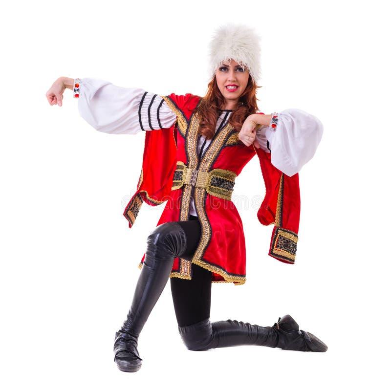 Knappe vrouw het dansen lezginka royalty-vrije stock fotografie