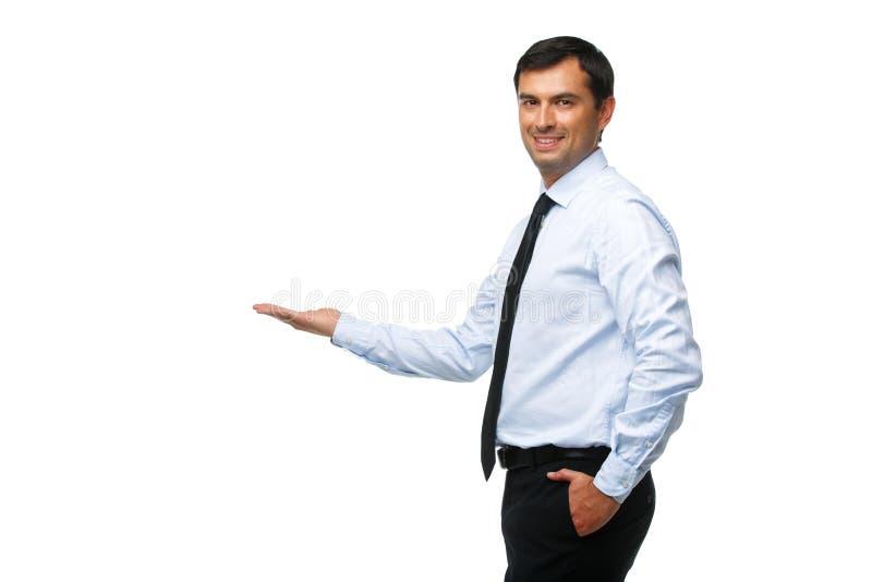 Knappe zakenman in blauw overhemd stock fotografie