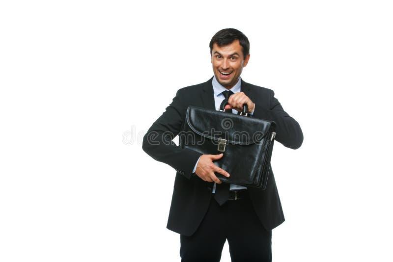 Knappe zakenman in kostuum met aktentas royalty-vrije stock afbeeldingen